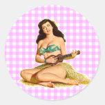 Señora modela del vintage etiquetas redondas