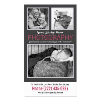Señora moderna Photographer con 3 fotos de la mues Tarjetas De Visita