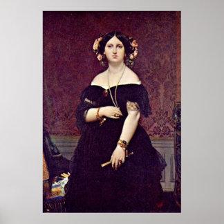 Señora Moitessier de Jean Auguste Dominique Ingres Póster