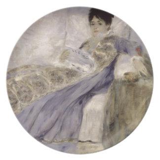 Señora Monet en un sofá, c.1874 (aceite en lona) Platos De Comidas