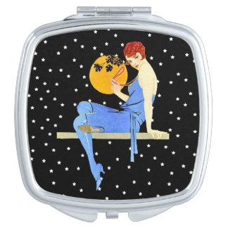 Señora Moon Stars Red Hair de la aleta de los años Espejos Para El Bolso
