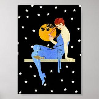 Señora Moon Stars Red Hair de la aleta de los años Póster