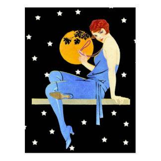 Señora Moon Stars Red Hair de la aleta de los años Postales