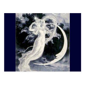 Señora Moon Stars Tarjeta Postal