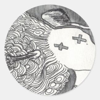 Señora muerta de la impresión 2 del arte de Bijini Pegatina Redonda