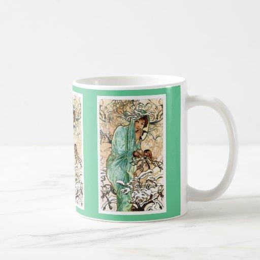 Señora Mug del invierno de Nouveau del arte Taza Básica Blanca