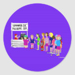 Señora Mulligan Golf Cartoon Stickers Etiquetas Redondas