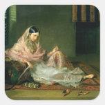 Señora musulmán Reclining, 1789 (aceite en lona) Pegatinas Cuadradas Personalizadas