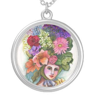 Señora Necklace de la flor del Victorian Colgante Redondo