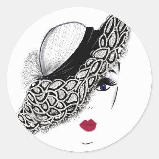 señora negra del gorra del modelo pegatina redonda
