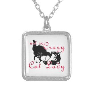 Señora no tan loca Black del gato Pendiente Personalizado