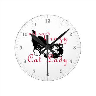 Señora no tan loca Black del gato Relojes
