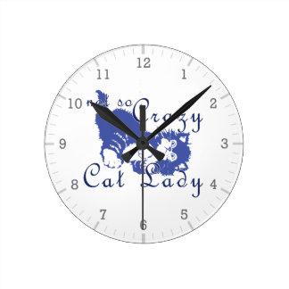 Señora no tan loca Blue del gato Relojes