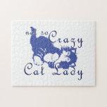 Señora no tan loca Blue del gato Rompecabeza
