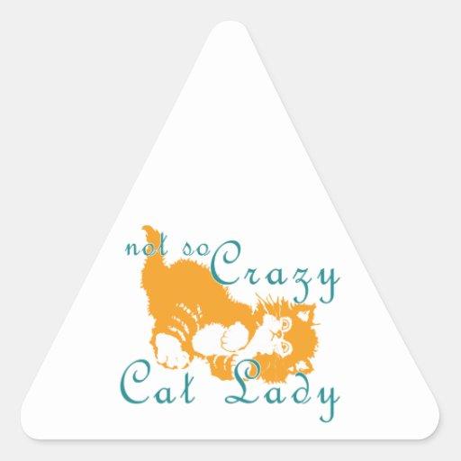 Señora no tan loca Yellow del gato Colcomanias De Triangulo