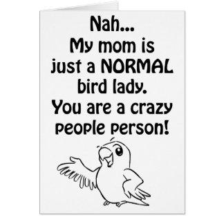 Señora normal del pájaro tarjeta de felicitación