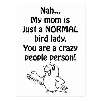 Señora normal del pájaro tarjetas postales