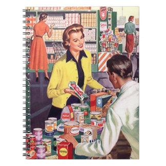 Señora ocupada retra Shopping Suburbia del vintage Libretas Espirales