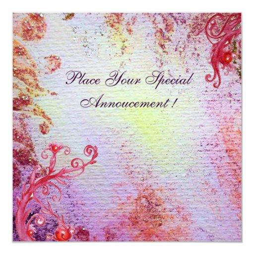 SEÑORA OF LAKE, rosa azul brillante vibrante Invitación 13,3 Cm X 13,3cm