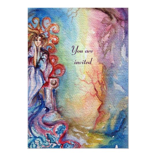 "SEÑORA OF LAKE, rosa azul brillante vibrante Invitación 5"" X 7"""