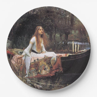 Señora Of Shallot Pre-Raphaelite Painting Plato De Papel De 9 Pulgadas