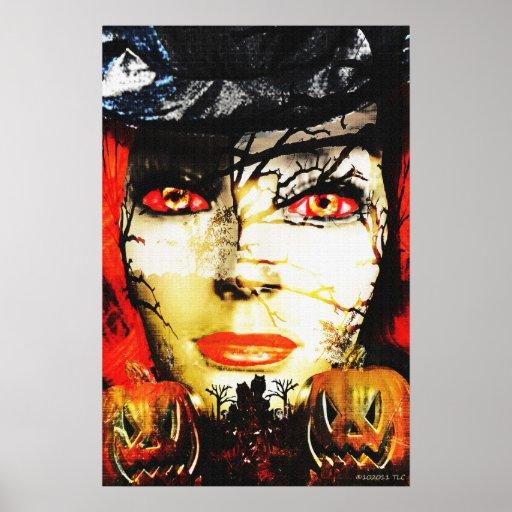 Señora oscura de Halloween Póster