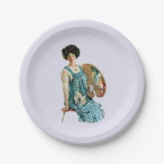 Señora Painter Palette del artista del Victorian Plato De Papel De 7 Pulgadas