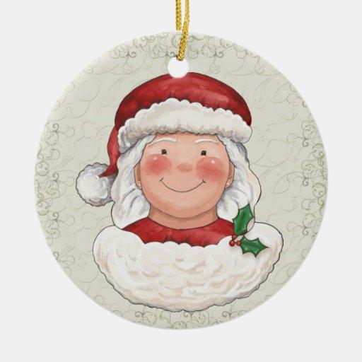 Señora Papá Noel - SRF del navidad Adorno Redondo De Cerámica