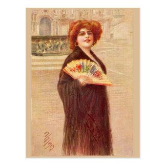 Señora parisiense de la época de la belleza postales