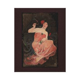 Señora parisiense en negro impresiones de lienzo