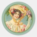 Señora Pascua Bonnet del Victorian del vintage Pegatina Redonda