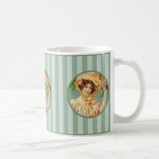 Señora Pascua Bonnet Mug del Victorian del vintage Taza Clásica