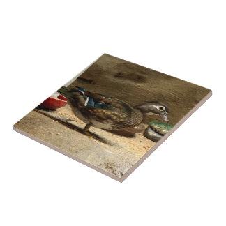 Señora pato de madera tejas  ceramicas