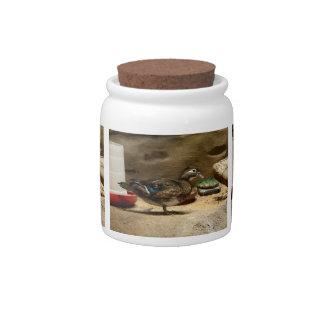 Señora pato de madera jarra para caramelo