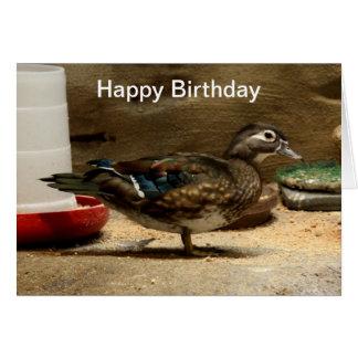 Señora pato de madera tarjeta de felicitación