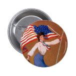 Señora patriótica, bandera de los E.E.U.U. y Eagle Pin