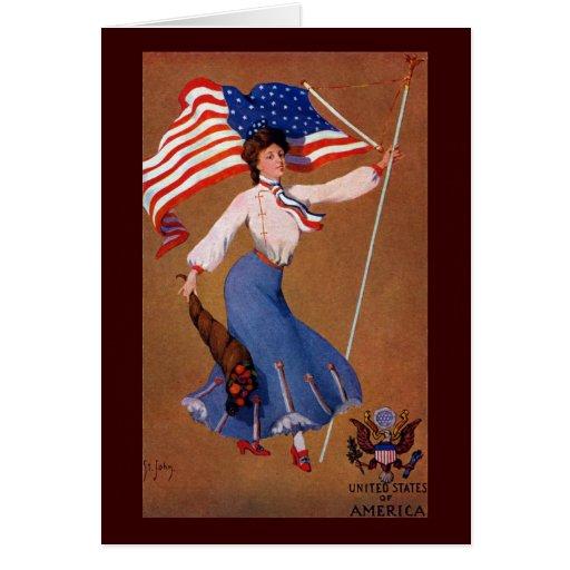 Señora patriótica, bandera de los E.E.U.U. y Eagle Felicitación