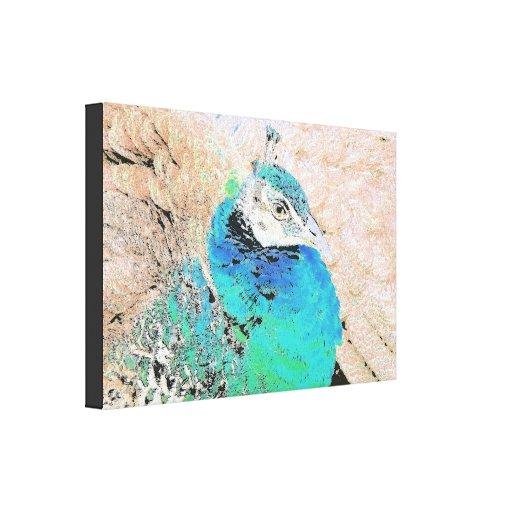 Señora Peacock Wrapped Canvas Impresion De Lienzo