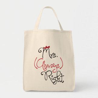 Señora personalizada Always la Right Bag Bolsa Tela Para La Compra