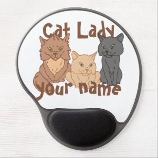 Señora personalizada del gato alfombrillas con gel