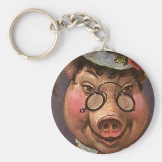 Señora Pig del humor del vintage, tonta y Llavero Redondo Tipo Pin
