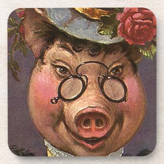 Señora Pig del humor del vintage, tonta y Posavasos