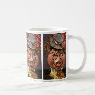 Señora Pig del humor del vintage, tonta y Taza De Café