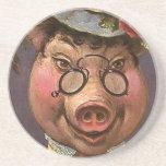 Señora Pig del Victorian del vintage, tonto, diver Posavasos Manualidades