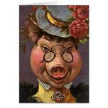 Señora Pig del Victorian del vintage, tonto, diver Tarjetón