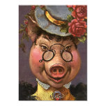 Señora Pig del Victorian del vintage, tonto, Invitación