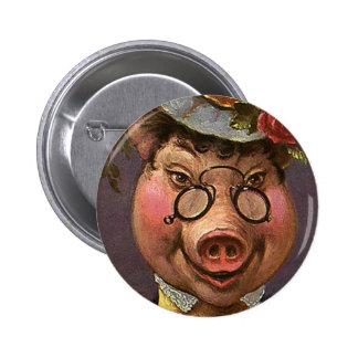 Señora Pig del Victorian del vintage, tonto, Pin