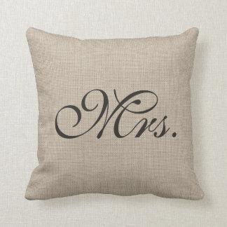 Señora Pillow de la arpillera Cojín Decorativo