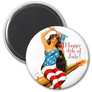 Señora Pin Up Girl Vintage el 4 de julio de la ban Imán Redondo 5 Cm