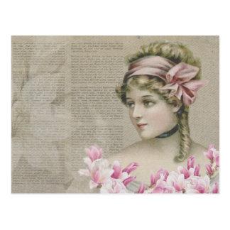 Señora Pink Newspaper Postcard de Steampunk del Tarjetas Postales